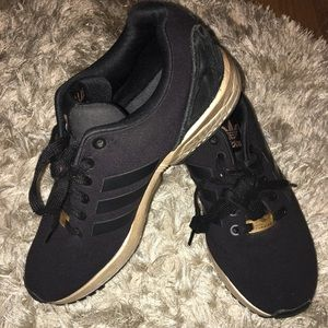 Adidas BLACK AND GOLD ZX FLUX